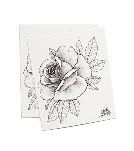 TattooYou Rose Temporary Tattoo for Women - Finest Quality Grayscale Temporary Rose Tattoo -Hand Drawn Design by Sasha Masiuk - 3 by 3.5 Inches