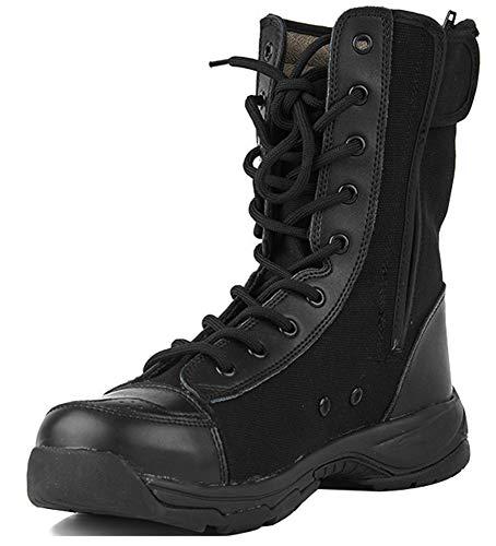 MYXUAA Stivali tattici militari da combattimento traspiranti Stivali militari in tela speciale Stivali con suola in gomma piena-Black-EU42/US9.5/UK8.5
