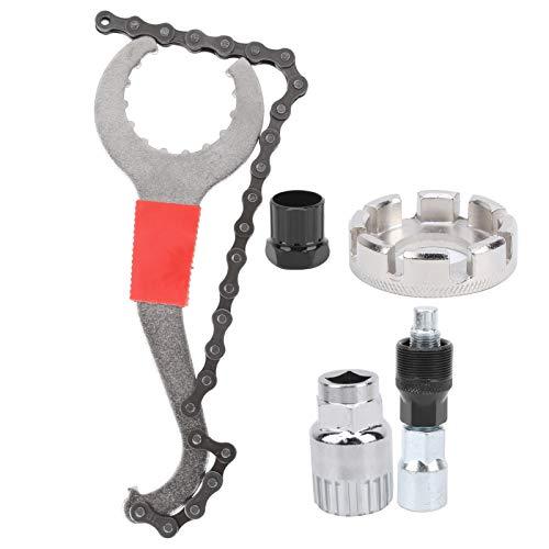 Fybida Llave de pedalier Multifuncional 3 en 1 Kit de Herramientas de reparación de 5 Piezas Ajuste de apriete Llave de Cadena de reparación Herramienta de extracción de Bicicletas, para