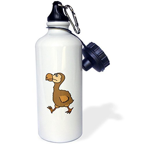 Cukudy Water Fles Cadeau, Grappige Dodo Vogel Cartoon Wit RVS Water Fles voor Vrouwen Mannen 21oz