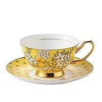 CHUNSHENN コーヒーカップ 贈り物 コーヒーカップセット2ボーンチャイナコーヒーカップマグカップとソーサーミルクアフタヌーンティーカップカプチーノカップ(カラー:イエロー、サイズ:ワンサイズ) プレゼント ギフト