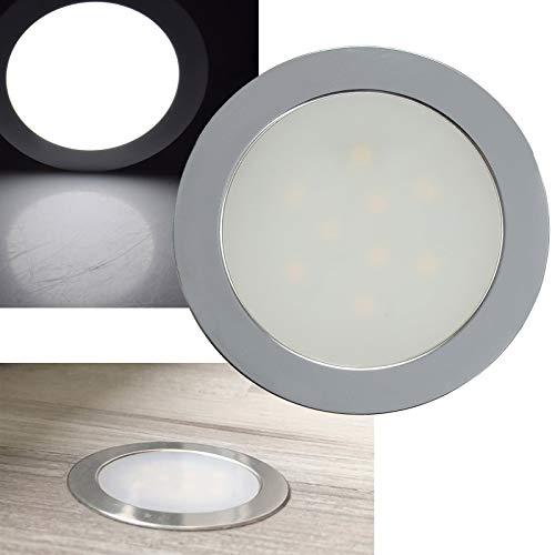 ChiliTec LED Einbauleuchte 0,5Watt 45Lumen I geeignet für Parkett und Laminat I 12Volt I 6000k Weiß I Matte Front I Silber
