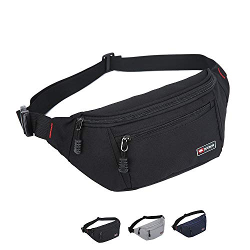 ZOORON Fanny Packs for Men and Women, Waterproof Sports Waist Pack Bag Hip Bum Bag for Travel Hiking Running