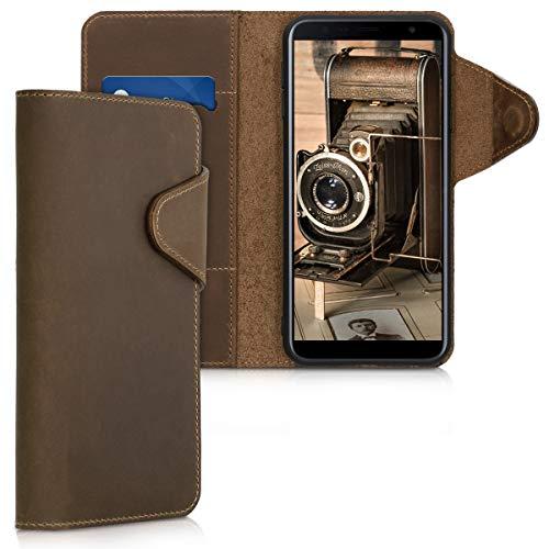 kalibri Wallet Hülle kompatibel mit Samsung Galaxy J4+ / J4 Plus DUOS - Hülle Leder - Handy Cover Handyhülle in Braun