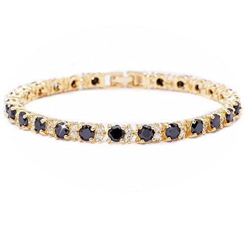 RIVA Ewigkeit Tennis Armband [18cm/7inch] mit Rundschliff Edelstein Zirkonia CZ [Schwarz Onyx] in 18K Gelbgold Vergoldet, Einfache Moderne Eleganz