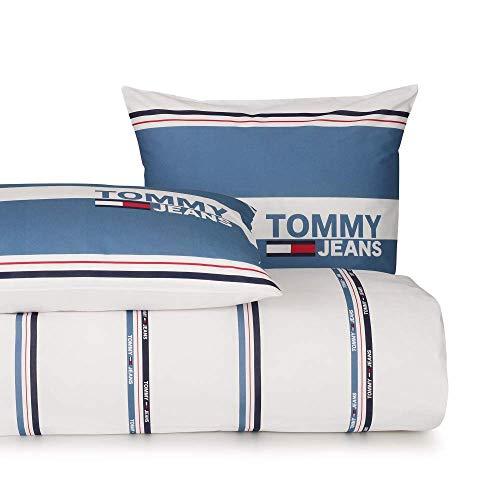 Tommy Hilfiger Baumwollbettwäsche Logo Lifestyle I Farbe Denim Blau 135x200cm+80x80 I Streifen I Schrift I Reißverschluss