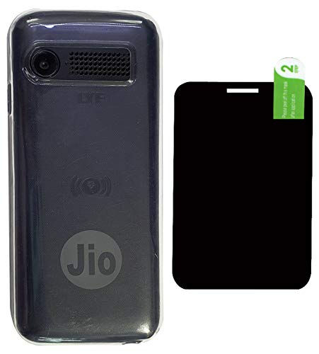 FCS Soft Silicone Back Case Cover with Anti Shock Armour Screen Protector Flexible Scratch Guard for Jio Phone F90M