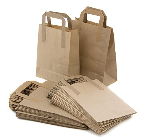Bolsas para llevar con asas de papel kraft marrón SOS para transportar alimentos con asas ecológicas, seguras para fiestas, bares, restaurantes (500 unidades, tamaño grande, 25,4 x 30,5 x 13,5 cm)