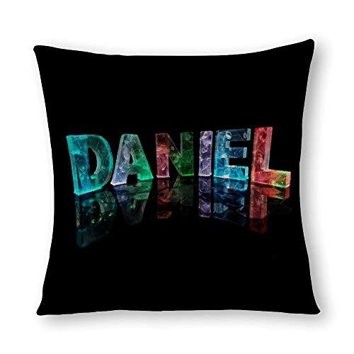 perfecone Funda de almohada de algodón para decoración del hogar, doble letra 3D, Daniel sofá y coche, 1 paquete de 15,7 x 15,7 pulgadas / 40 cm x 40 cm