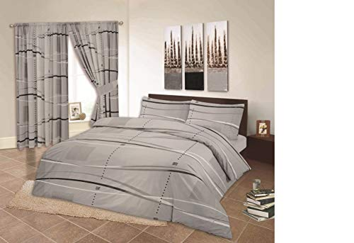 RayyanLinen PRINTED OCEAN GREY SILVER WHITE BLACK DUVET COVER BEDDING SET WITH PILLOWCASES (SINGLE)