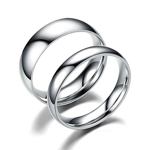 ANAZOZ 2 Stücke Paarringe 4mm Edelstahl Diamantring Luftmatratze 6mm Edelstahl Totenkopf Ring mit Strass Eheringe Verlobungsringe Damen Größe 65 (20.7) & Herren Größe 60 (19.1)
