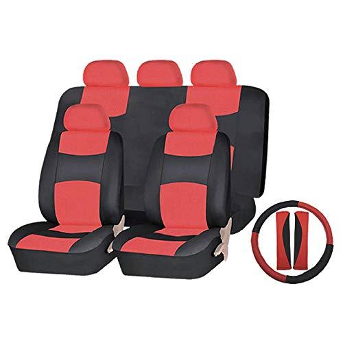 Preisvergleich Produktbild ZJWZ Auto-Sitz-Abdeckung vollwertiges Set abgeschlossen Sitz 12 Pack universelle Größe Pu Leder Luxus und Anzug für Auto,  4x4 Jeeps,  MPV und SUV-Modelle, Black / Red
