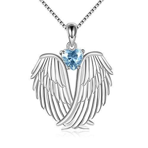 YAFEINI Angel Wings Necklace Sterling Silver Guardian Angel December Birthstone Necklace Wings Pendant Jewelry for Women Gifts
