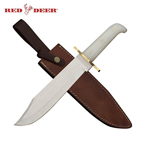 Red Deer 17 Inch Bowie Knife White Acrylic Handle with Real Leather Sheath