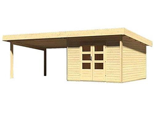 Karibu Woodfeeling Gartenhaus Northeim 3 naturbelassen mit Schleppdach 4,0 Meter