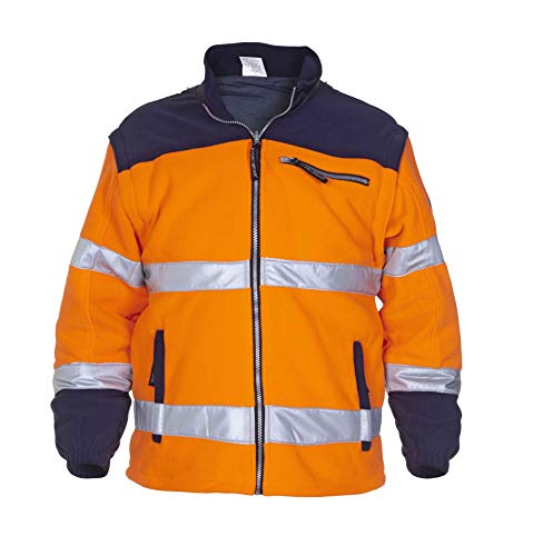 EN 471 fleece in Toptex, oranje/marineblauw