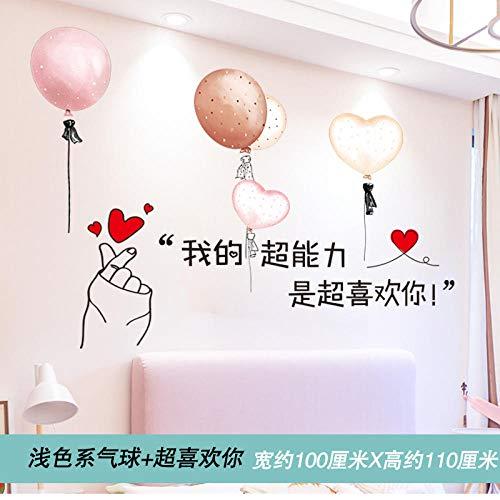 Tapete wasserdicht selbstklebend Schlafzimmer warm und schön kreative Persönlichkeit Karte Pflanze Text 3 helle Luftballons + super wie Ihr Text stickers_Big