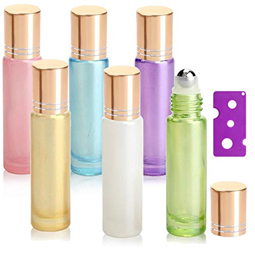 6Pcs, 10ml Essential Oil Roller Bottles - Yalbdopo Refillable Glass Roll on Bottles with Stainless Steel Roller Balls & Gold Lids & Bottle Opener, Perfect for Aromatherapy, Essential Oils, Fragrance