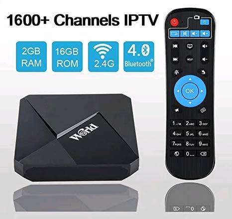 World IPTV Box Boîtier TV 1600 Chaînes International Android TV Box 4K Ultra HD Journal Sport Cinéma Adultes. France Brésil USA UK Canada Inde Arabe Asie etc. Version 2020 (Abonnement Gratuit)