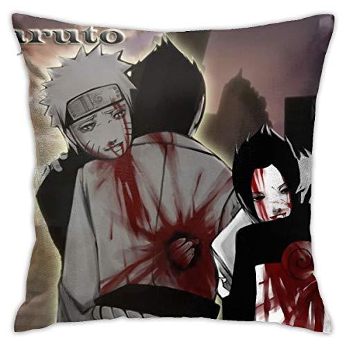 CVDGSAD Naruto Shippuuden Blood Uzumaki Naruto Uchiha Sasuke 18'x18' Funda de almohada estándar de algodón