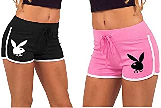 Melcom Cotton Women Black and Pink Play Boy Printed Shorts (Pack of 2)