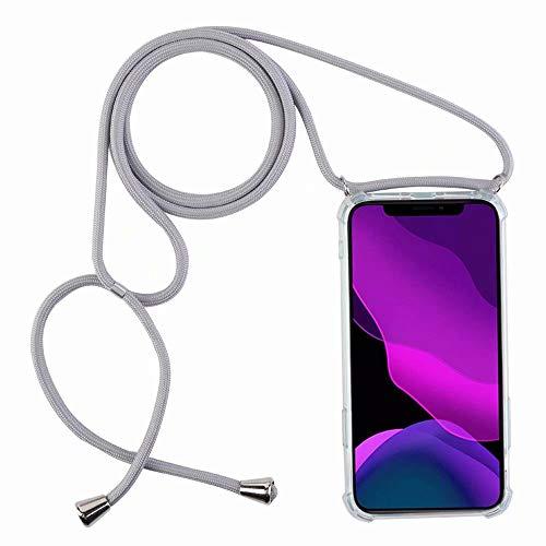 2ndSpring Funda con Cuerda Compatible con Huawei P20 Lite/Nova 3e,Colgante Collar Correa de Cuello Cadena Cordón,Gris
