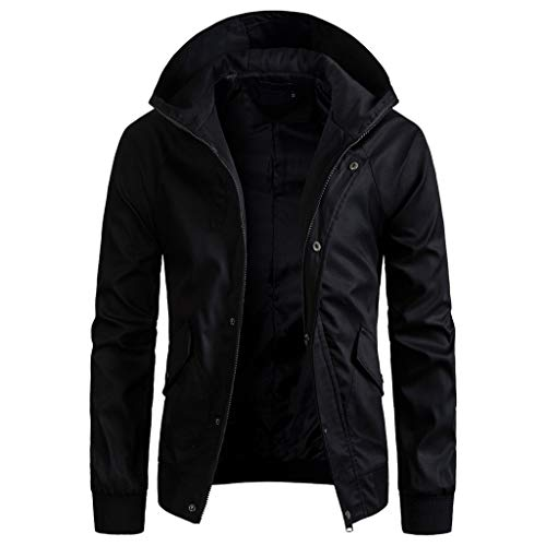 Best Prices! NEARTIME Men's Spring Winter Solid Color Jacket Cool Zipper Button Hooded Pocket Coat T...
