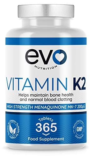 Vitamin K2 MK 7 200mcg | 365 Vegetarian and Vegan Tablets (not Capsules) | One Year Supply of High Strength Vitamin K2 Menaquinone MK7 Produced in the UK by EVO NUTRITION