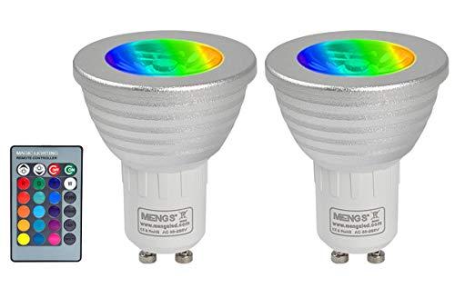 MENGS 2 Stück 3W RGB LED Reflektorlampe GU10 LED Farbige Licht Leuchtmit RGB LED Leuchtmittel Dimmbar mit Fernbedienung, ersetzt 20W, 60° Abstrahlwinkel 180lm für Ambiente Party Deko