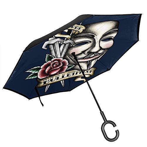 V für Vendetta-Maske Traditioneller doppelschichtiger umgekehrter Regenschirm im Tattoo-Stil für rückwärts klappbare C-förmige Hände - leicht und Winddicht & ndash
