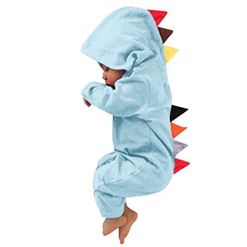 Combinaisons de Bébé - Nouveau-né Infantile Bébé Garçon Fille Dinosaure À Capuche Romper Combinaison Costumes Vêtements de Nuit - Body bébé Ba Zha Hei (3-6 Mois, 2-Bleu Clair)