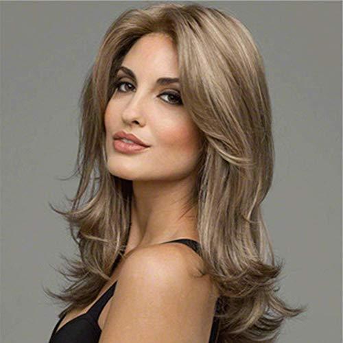 HAIRCARE Mode Long Curly Wig Blond Perruques De Partie Synthétique De Fibre Brune,Perruques Pleines De Moyen Long pour Les Femmes avec Cosplay Wigs