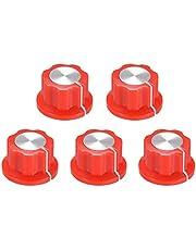 sourcing map 6,4mm Eje Orificio Potenciómetro Volumen Control Giratoria Perillas, Efecto Pedal Perillas Rojo 5 piezas