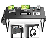 Computer Desk, 55' Study Writing Table for Home Office, Heavy Duty Simple PC Desk with 1 Storage Bag, 2 Hanger Hooks, 4 Cable Management Sleeves for Desktop Organization (Black)