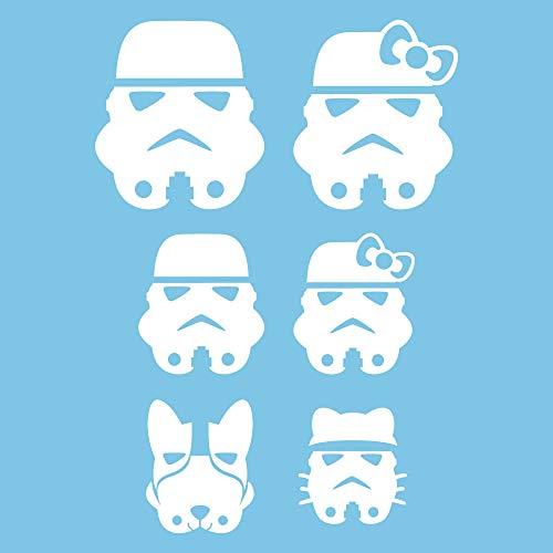 Autodomy Familien Star Wars Tropper Aufkleber Paket 6 Stück für Auto (Weiß)