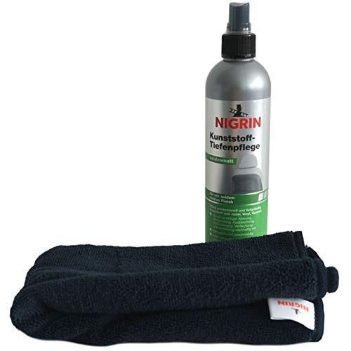 Nigrin Kunststoff Tiefenpflege Seidenmatt 300ml Spray Tiefenpfleger + Mikrofaser-Tuch