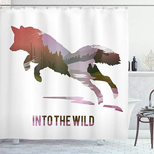 ABAKUHAUS Fuchs Duschvorhang, Springender Fox Wild Woodland, mit 12 Ringe Set Wasserdicht Stielvoll Modern Farbfest & Schimmel Resistent, 175x220 cm, Lavendel Braun Korallenrot