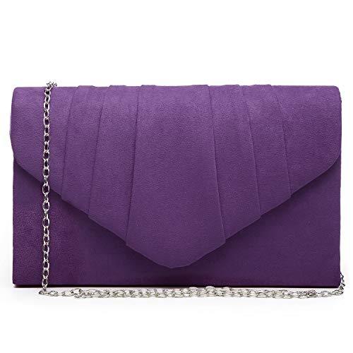 Dasein Womens Evening Bag Velvety Pleated Envelope Clutch Handbag Wedding Party Bridal Purse (Purple)