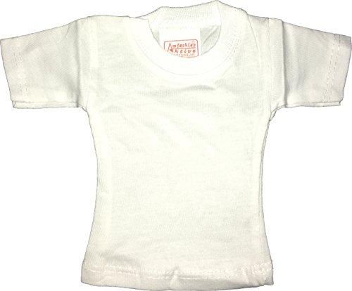 Amfashion (R Mini T-Shirt, weiß, 100{aeb3b05317bc0cd3ea216f755db8fcfe2ef4cafd377525045fda1c9800510db8} Baumwolle, Spaß-Artikel, Werbeartikel zum Veredeln und zum Bedrucken - Mini T-Shirt für Flaschen (10)