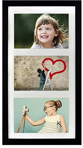 BD ART 23 x 50 cm Mehrfach Bilderrahmen, Bildergalerie, Fotogalerie mit Passepartout und 3 Foto-Ausschnitten für Fotos 13 x 18 cm, Schwarz
