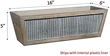 Classic Home and Garden Wood Window Box - Galvanized Accent