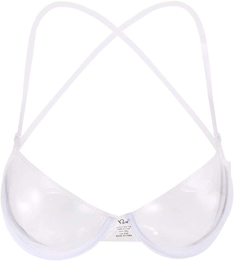 LIUguoo Women Sexy Transparent Clear Bra Invisible Strap Plastic Bra Disposable Underwear Bra Lightweight Bra