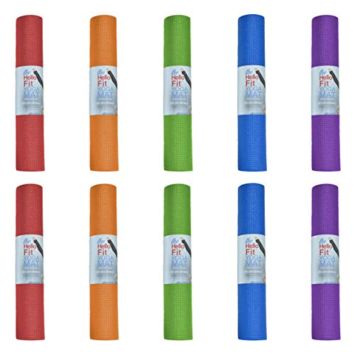 Hello Fit Kid-Friendly Yoga Mat, Non-Toxic Exercise Mat, Non-Slip Texture, Moisture Resistant, Eco Friendly, 10 Pack, Assorted