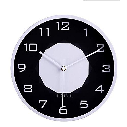 MQQ Reloj De Pared De Silencio Fronterizo Pintado, 12 Pulgadas De Metal Decorativo Reloj De Pared con Motor Moderno Moderno Minimalista Estilo Creativo Reloj Dormitorio Sala De Estar Interior