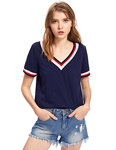 ROMWE Damen Sportlich T-Shirt V Ausschnitt Kurzarm Shirt Marineblau L