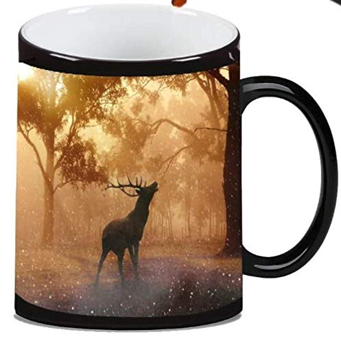 Elk Deer Silhouette in Morning Woods Picture Magic Color Morphing Ceramic Coffee Mug Tea Cup by Moonlight Printing