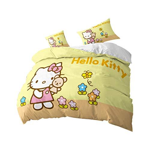 Bfrdollf Hello Kitty - Juego de funda de edredón y fundas de almohada (microfibra, 200 x 200 cm), diseño de Hello Kitty