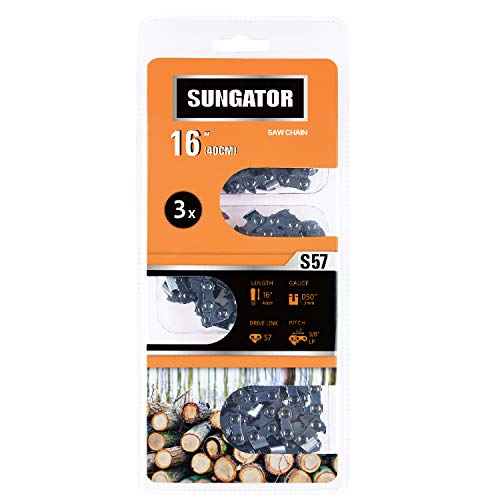 SUNGATOR 3-Pack 16-Inch Chainsaw Chain SG-S57, 3/8' LP Pitch - .050' Gauge - 57 Drive Links Compatible with Echo, Shindaiwa, Worx, Echo, Stihl