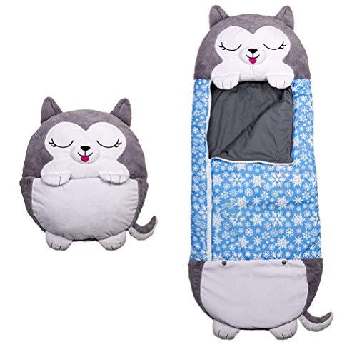 Hahepo Saco de dormir para niños, plegable, supersuave, cálido, ligero y compacto, con dibujos animados, para camping, senderismo y otros