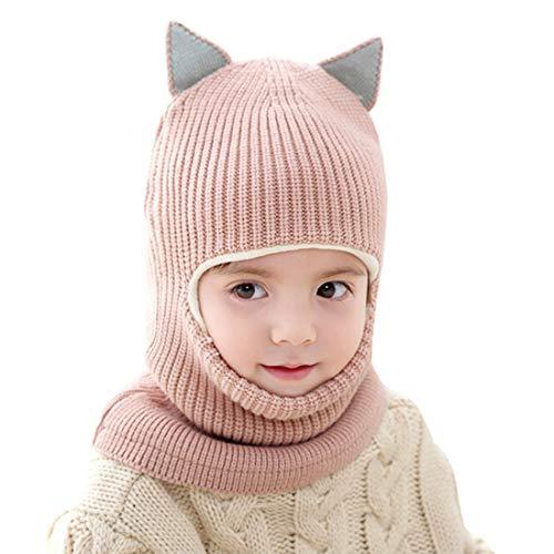 YONKINY Gorro de Punto Invierno Bebe Niño Niña Conjunto Sombrero y Bufanda Lana Pasamontañas Infantil Gorras Beanie Cuello Calentador